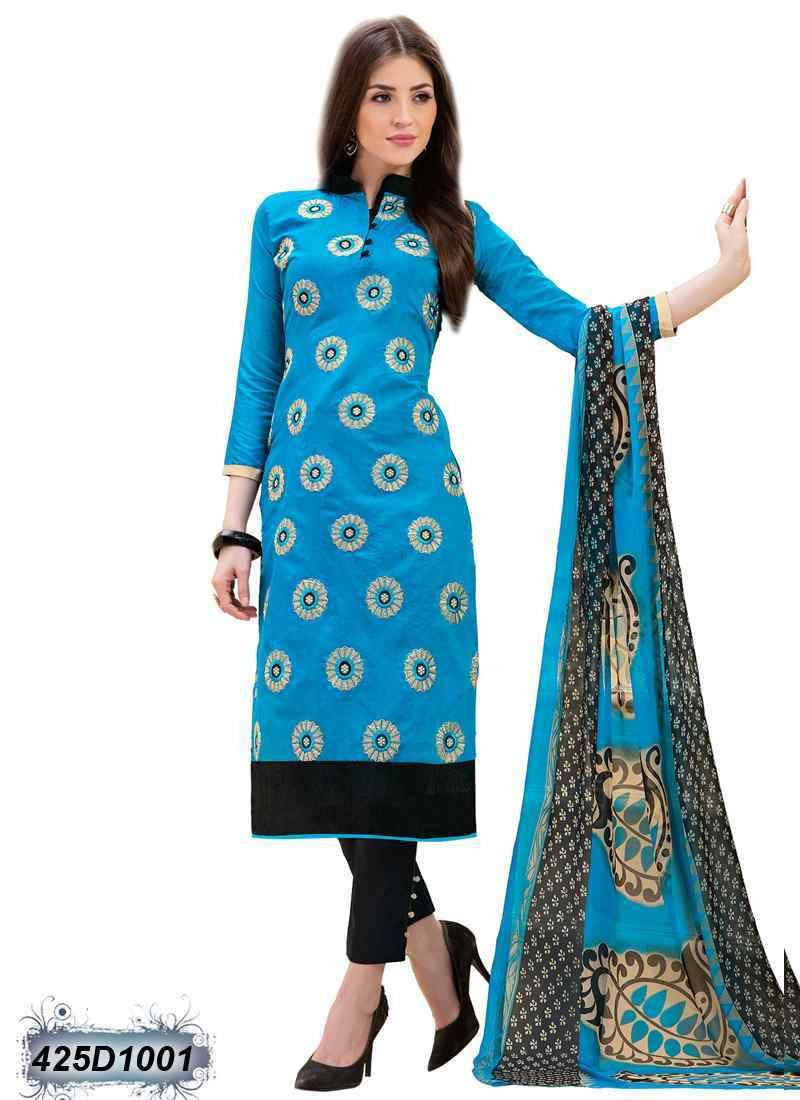 Delightful Blue Coloured Chanderi Salwar Suit | Casual Salwar Suit ...