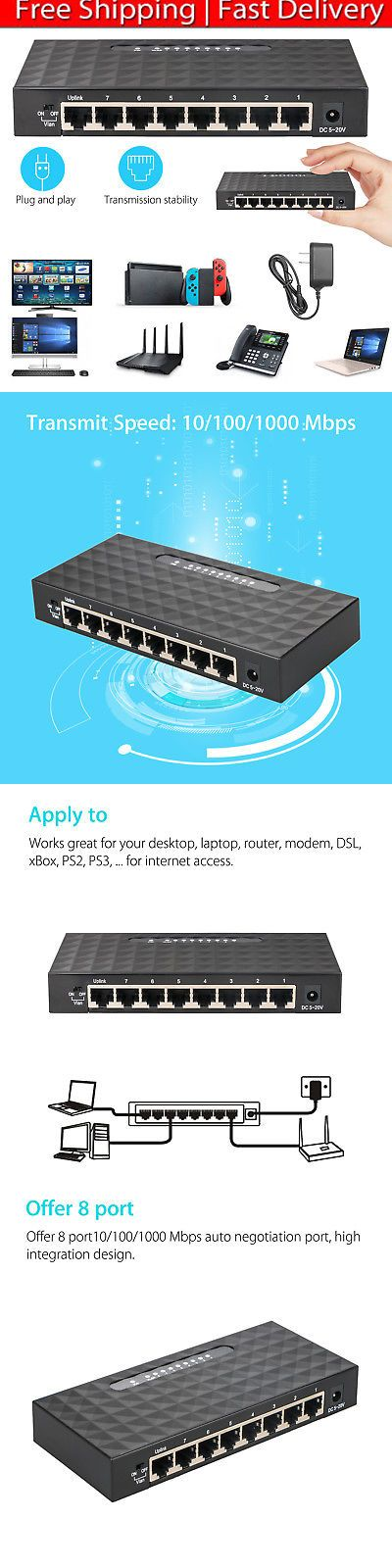 Switches And Hubs 182091 8 Port 10 100 1000 Mbps Gigabit Ethernet Desktop Switch Lan Hub Network Adapter Buy It Now Only 2 Desktop Metal Switches Adapter