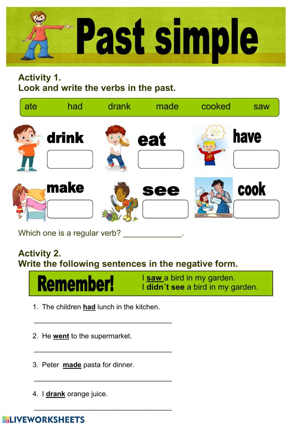 small resolution of Past simple Interactive worksheet   Verbs activities