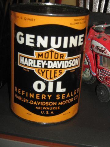 Rare Vintage Metal Harley Davidson Motor Oil Can H D Pinterest