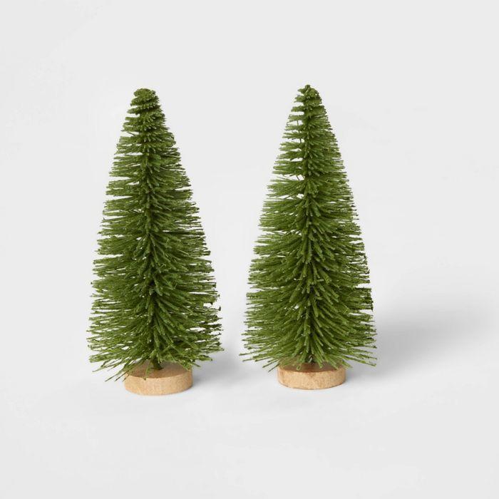 2pk Bottle Brush Christmas Tree Set Decorative Figurine Wondershop In 2020 Bottle Brush Christmas Trees Bottle Brush Trees Christmas Tree Set