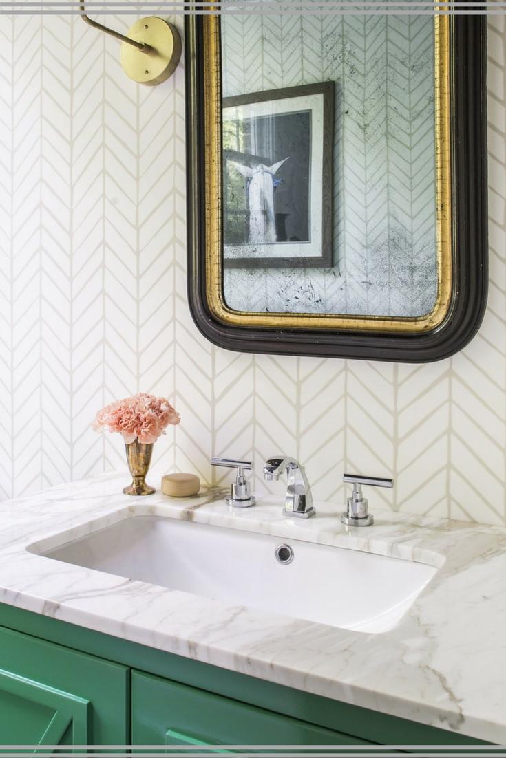 I\'m loving this modern bathroom with an antique mirror! Bathroom ...