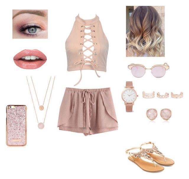 """Rose gold summer look👑🌷"" by emilymexioncerfan ❤ liked on Polyvore featuring Accessorize, Le Specs, Michael Kors, Larsson & Jennings, New Look and Monica Vinader"