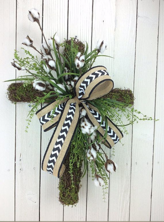 Cross Wreath Door Cross Cotton Cross Door Wreath With By Keleas Cross Wreath Easter Wreath Cross Easter Door Wreaths