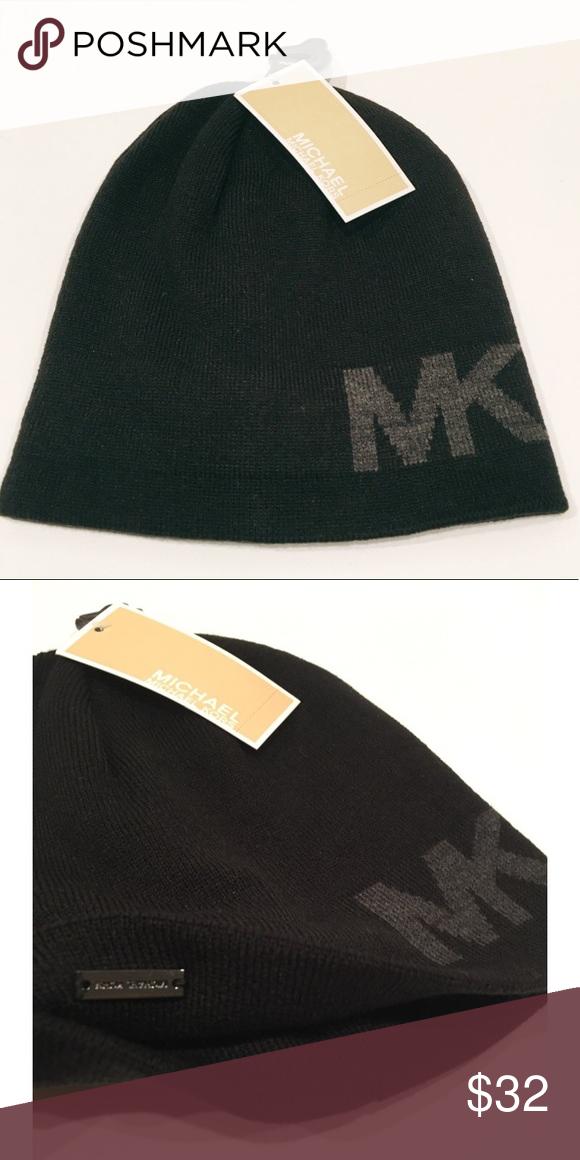 6803da4e6 Michael Kors Beanie Michael Kors Beanie in Black With Gray MK Logo ...
