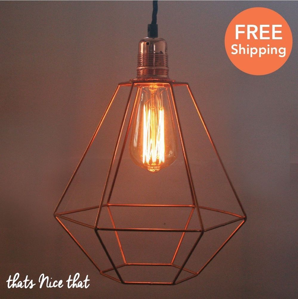 Diamond copper lampshade light industrial fitting cage bulb wire diamond copper lampshade light industrial fitting cage bulb wire geometric fun greentooth Image collections
