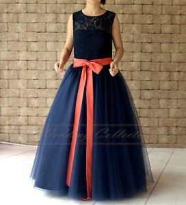 a8cb872d4 Navy Blue Lace Flower Girl Dress Floor Length with Coral Sash and ...