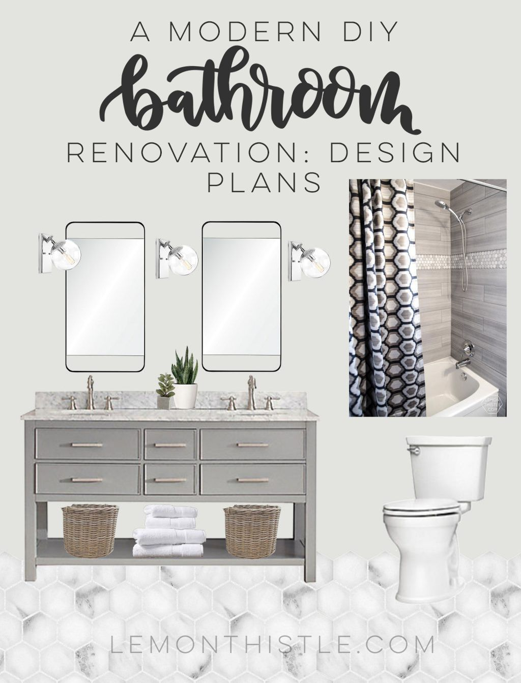 A Bathroom Renovation! One Room Challenge: Week 1 | Neutral ...