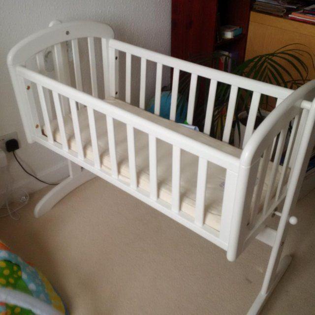 John Lewis White wooden swinging crib | Crib swing, Crib ...