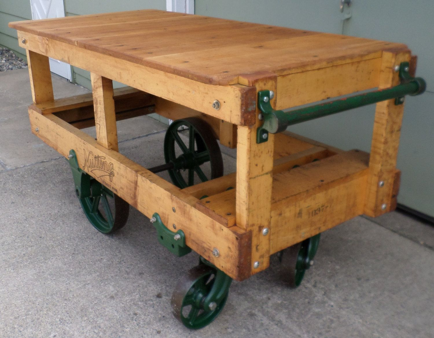 reserved industrial factory kitchen island railroad rocker cart table bar nutting truck on kitchen island ideas kitchen bar carts id=32477