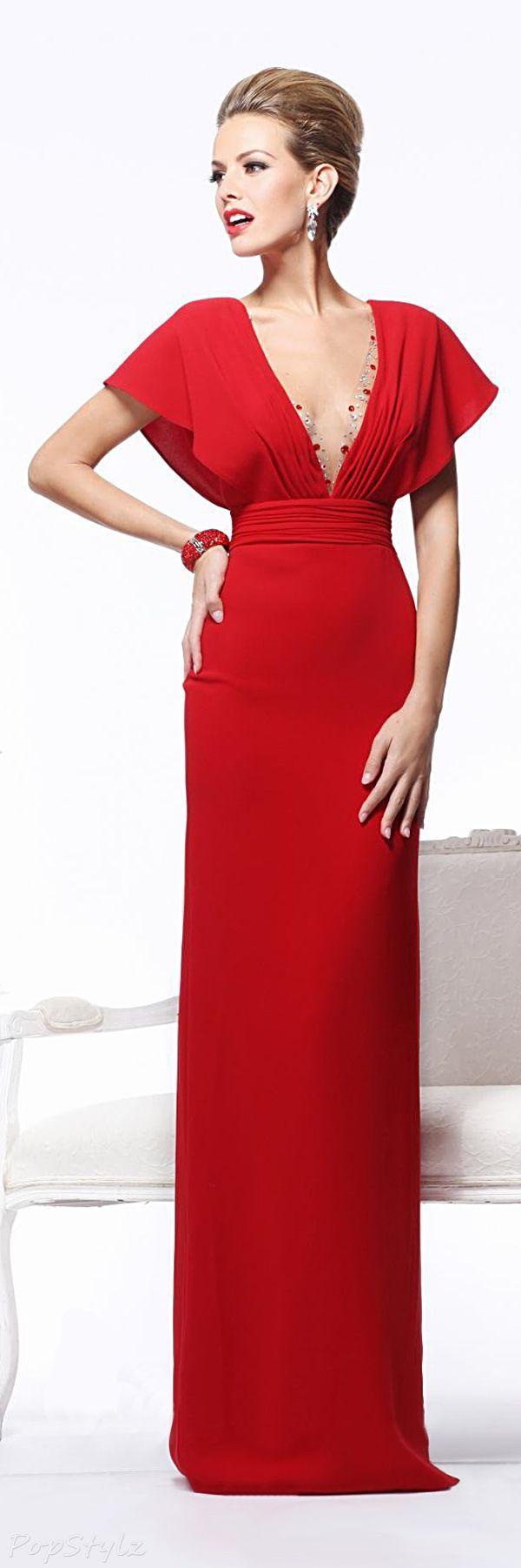 Tarik ediz long evening gown red pinterest long evening