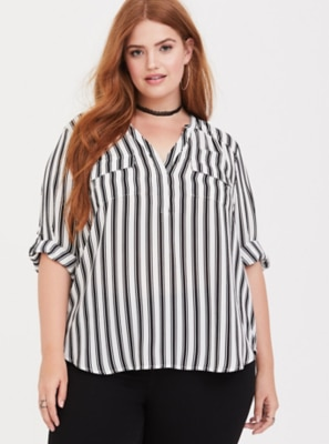 30df9294caa Harper Black & White Stripe Georgette Pullover Blouse | Products ...