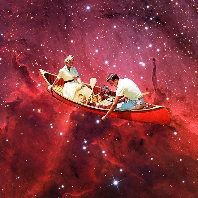 """""""Let me get that for you"""", rework of a 2013 collage of mine. Signed print at the link on my profile. #collage #art #arte #vintage #surreal #surrealism #collageart #boat #psychedelic #dmt #lsd #shrooms #stars #space #nebula #universe #love #relationship #couple #romance #romantic #illustration #fun"""