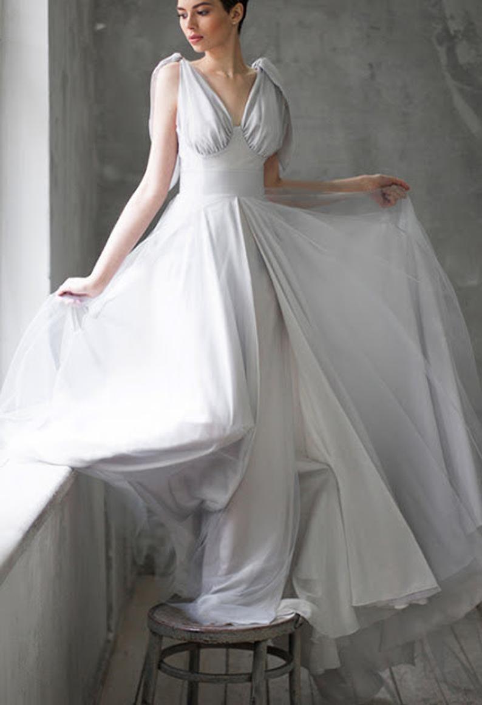 Graues Hochzeitskleid, Farbe brautkleid, Vintage Brautkleid