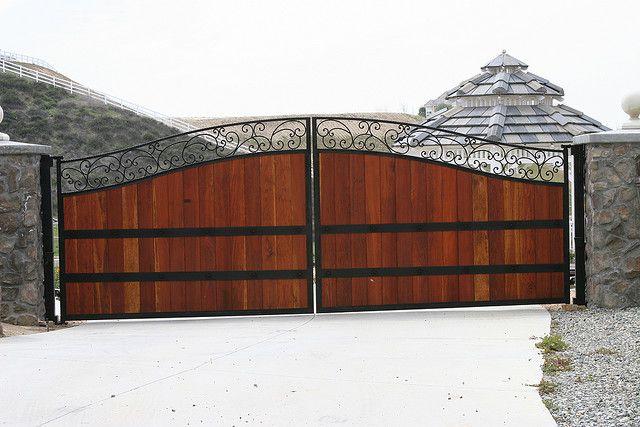 Wood Iron Double Swing Gates House Gate Design Wrought Iron