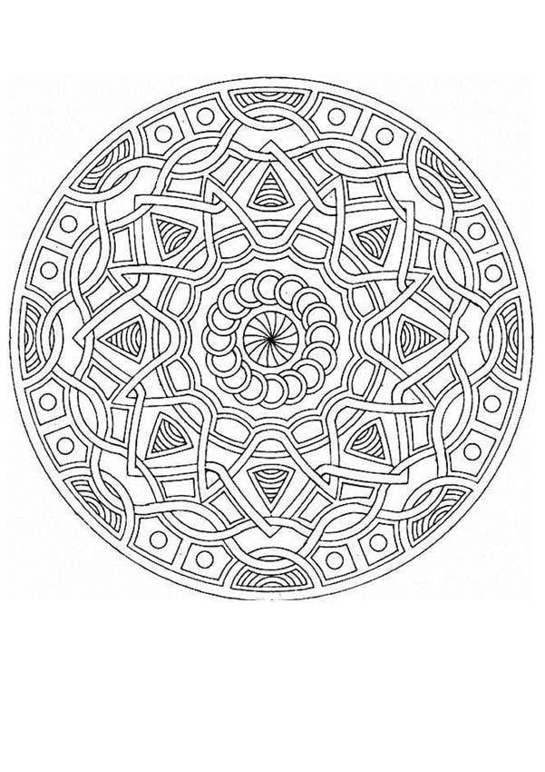Dibujo Para Colorear Mandala Trenzas Y Estrellas Mandales