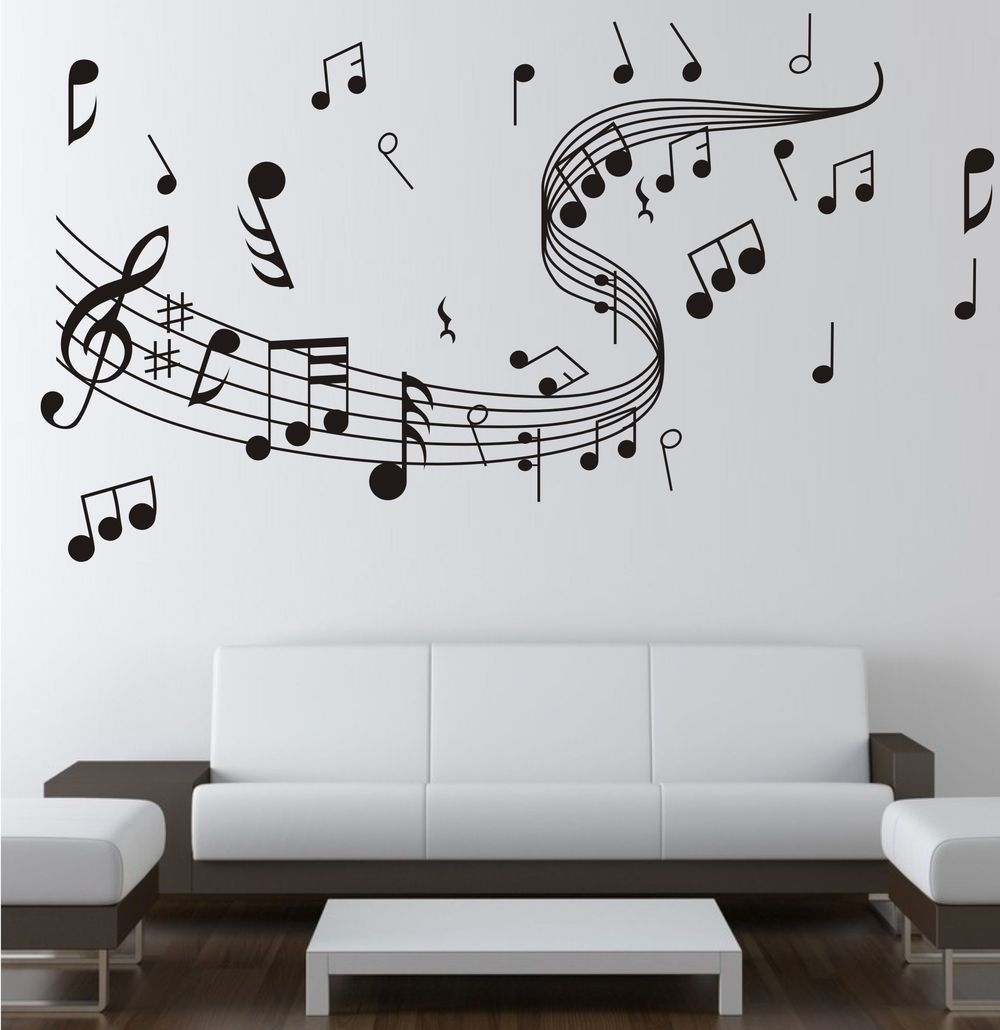 Note Music Wall Sticker 0855 Music Decal Wall Arts Wall Paper Sticker Home Studio Decor Us 8 87 Music Wall Stickers Music Wall Decal Music Wall Decor