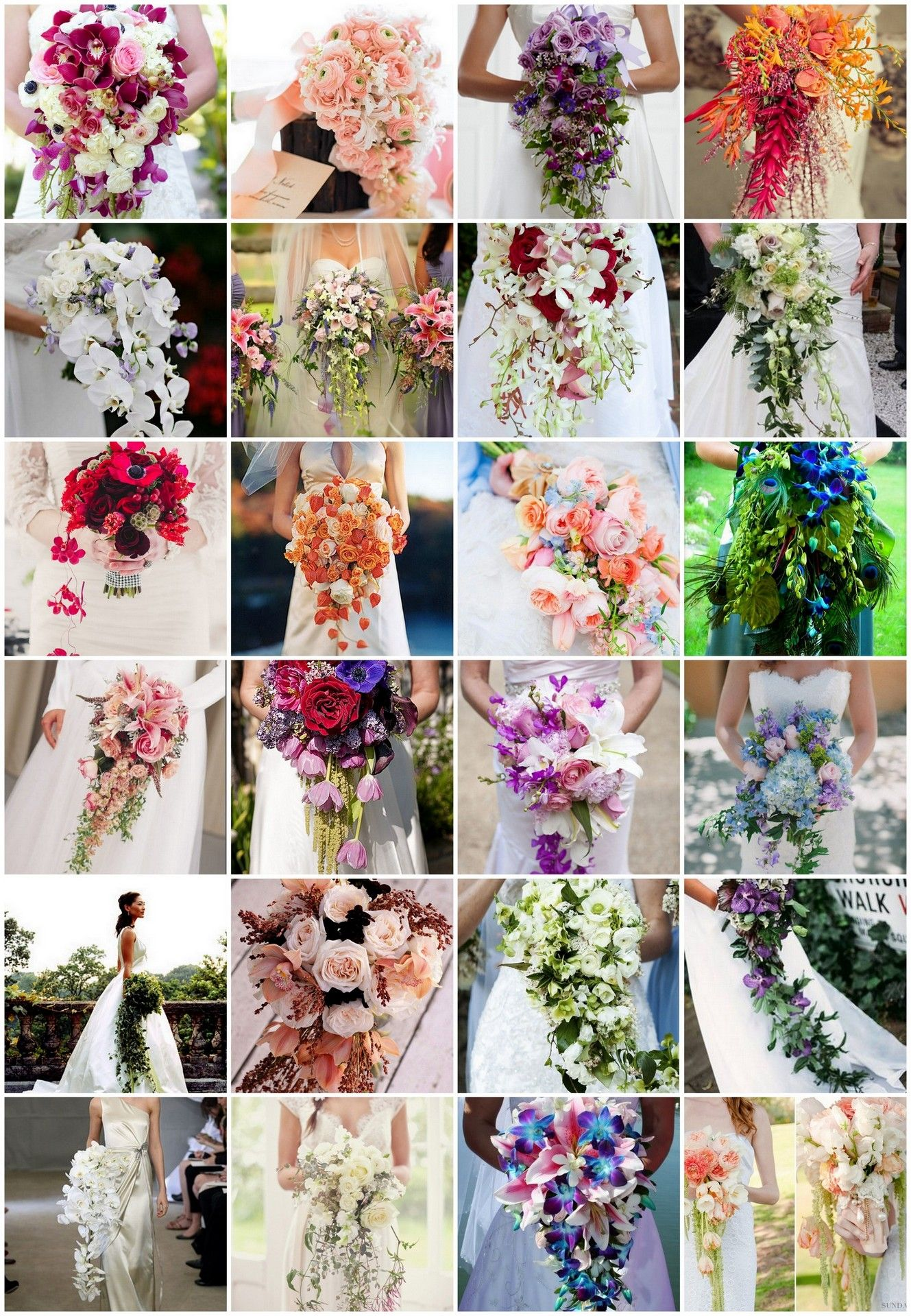 Long Cascading Bridal Bouquets Gather inspiration