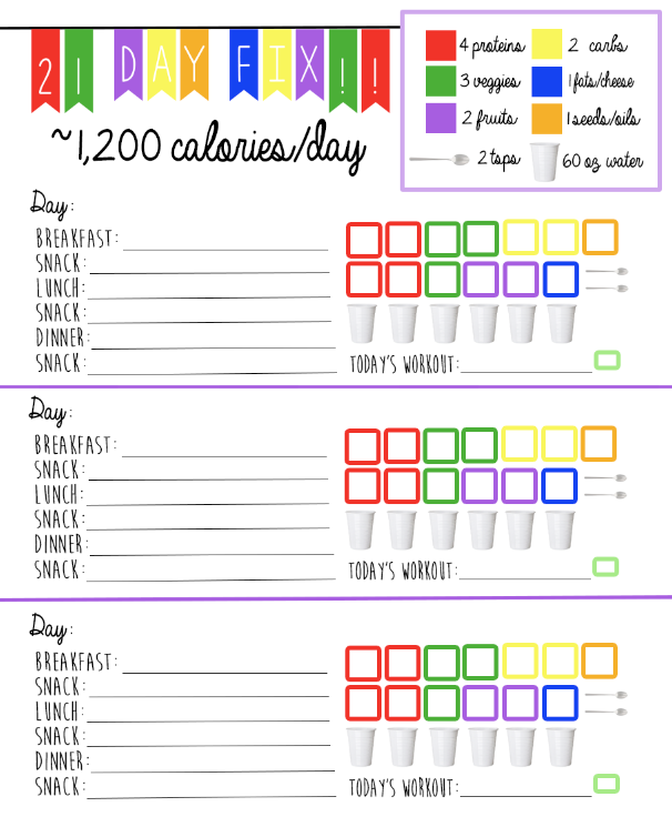 21 Day Fix Logging System Tracking Sheet Easy Meal Planning Tracker Check Off 1 200 Calorie Bracket Planner By