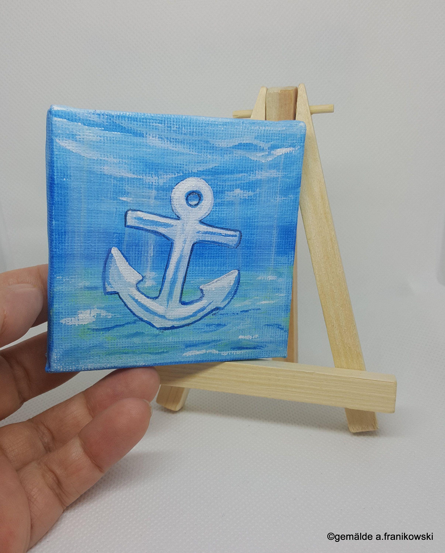 Minigemalde Anker Weiss 8 X 8 Cm Inkl Mini Staffelei Maritime Dekoration Ein Kunstvolles Geschenk Unterwasserwelt Meeresboden Mit Ank Handmade Art Painting