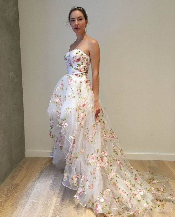 floral organza hi low wedding dress | Ŵ㉫ddÏnG dr㉫$$㉫$ and d