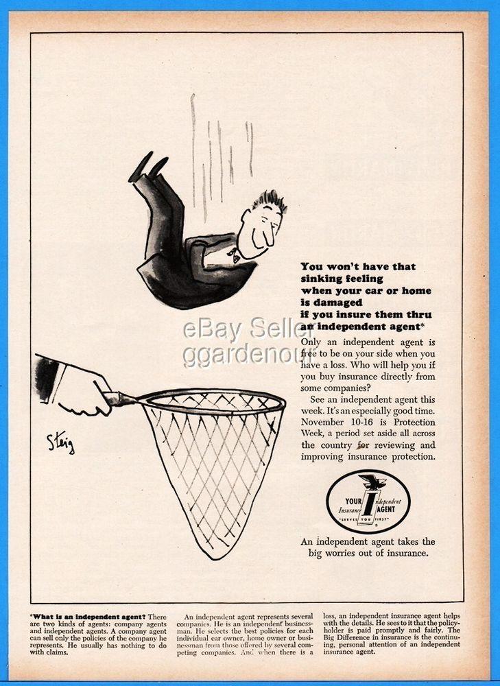 1963 Independent Insurance William Steig Art Man Falling Into Fish