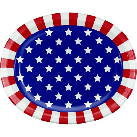 Patriotic Stars Oval Paper Plates, Red | Products in 2019