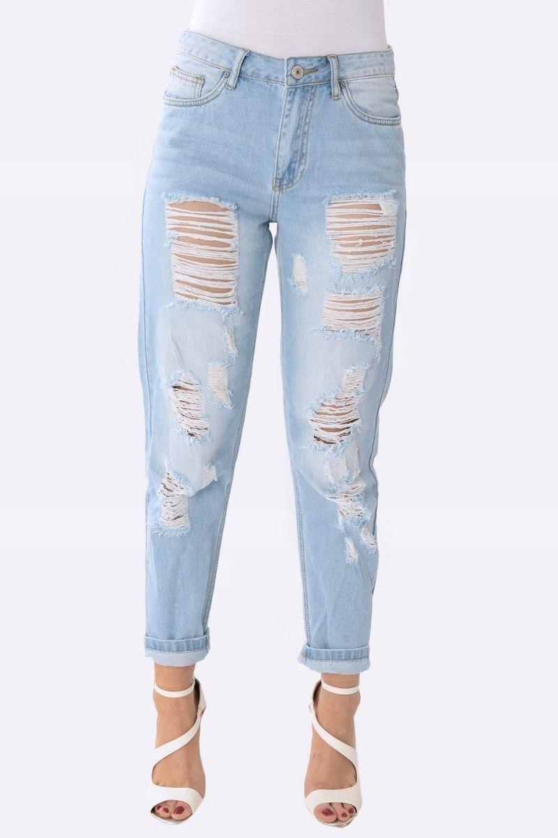 Vanessa Light Denim Ripped Boyfriend Jeans Womens Ripped
