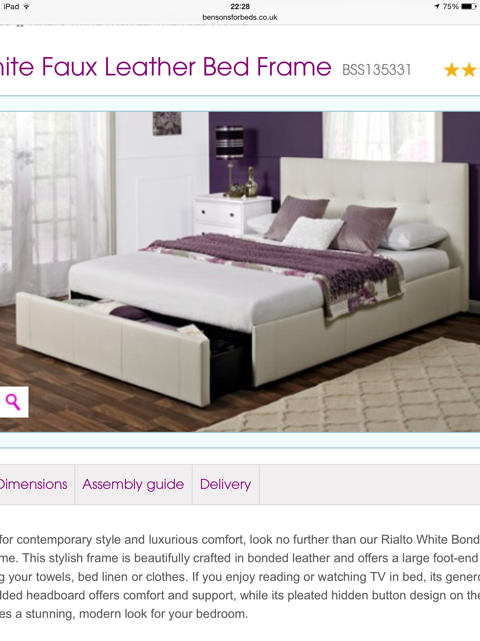 Rialto White Faux Leather Bed Frame Bensonforbedscouk