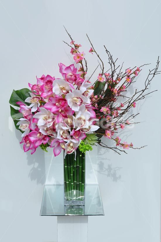 vibrant pink fresh touch cymbidum orchid and cherry blossom floral