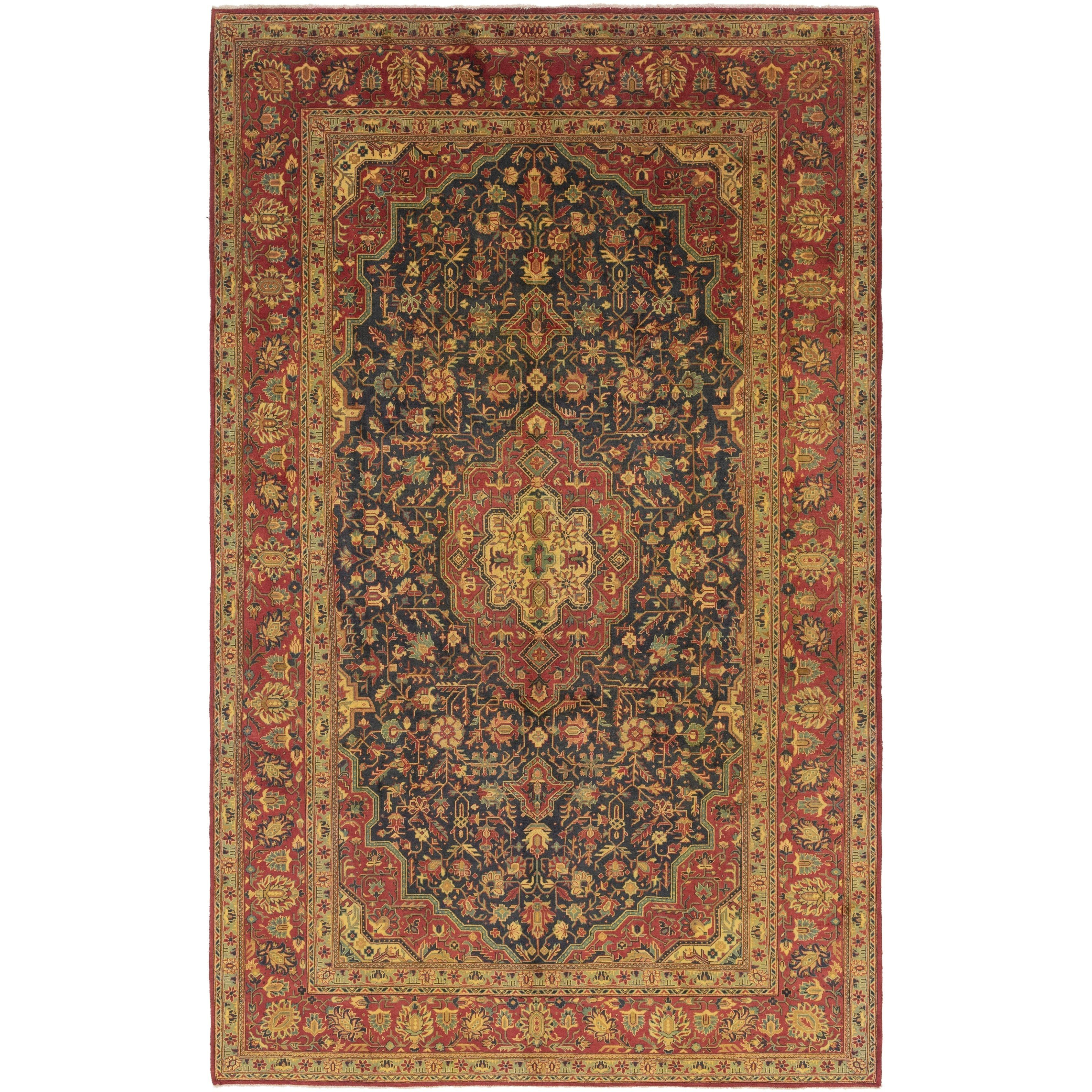 Refurbished Hand Knotted Tabriz Semi Antique Wool Area Rug 9 10