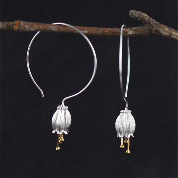 Silver Fresh Canterbury Bell Flower Drop Earrings For Women