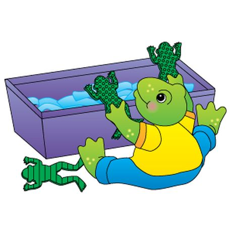 Fill a plastic tub with assorted lengths of blue crepe paper (for water).  Trace a frog  shape onto green craft foam to make six or more frogs. Use three different designs to decorate the frogs. Then cut out the frog shapes and scatter them under the crepe paper water. A student removes the frogs from the water and sorts them by their designs!