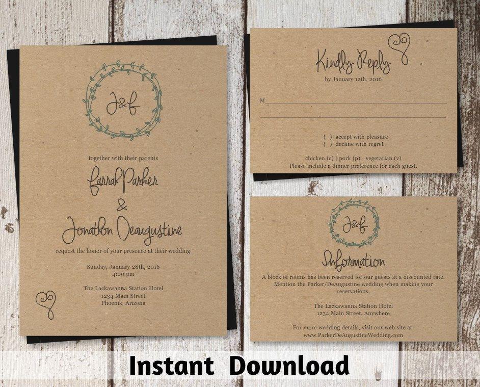 Wedding Invitation Template - Wreath & Heart Printable Set - Kraft ...