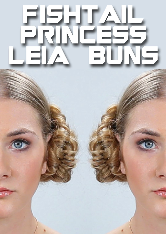 Star wars hairstyle princess leia fishtail buns tutorial