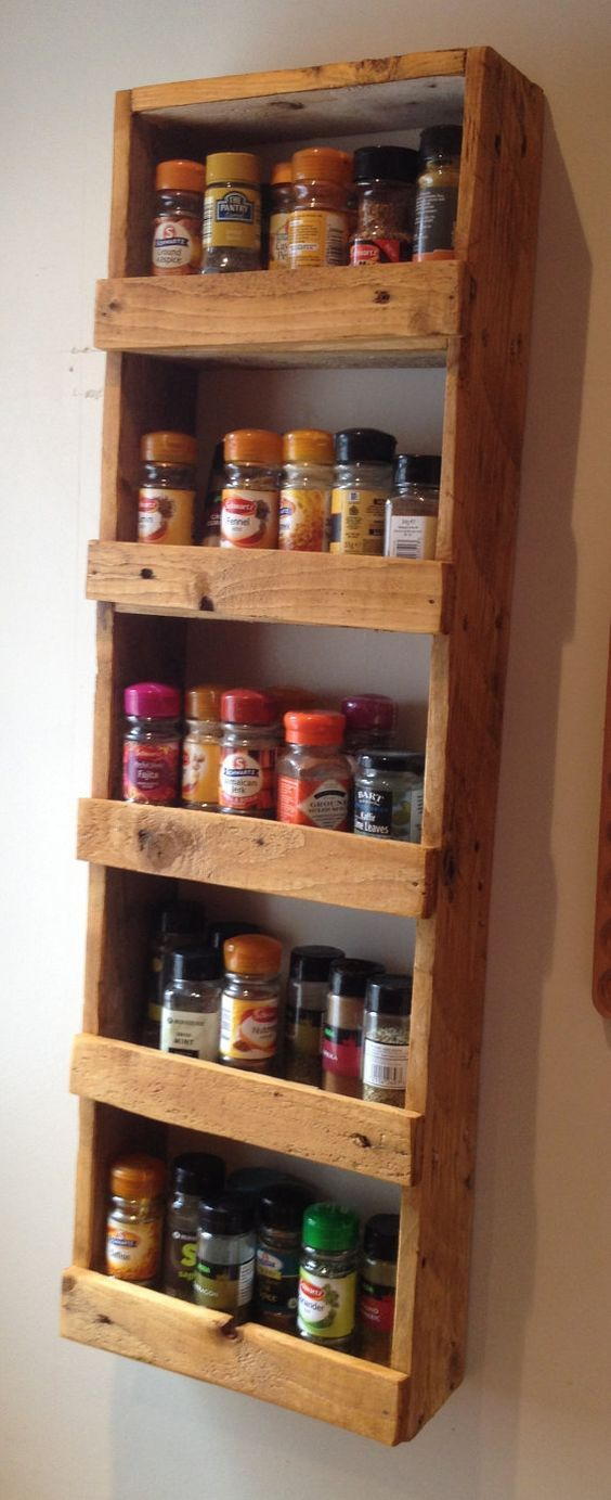 Super easy spice rack \u2013 cross slats could be positioned to hide