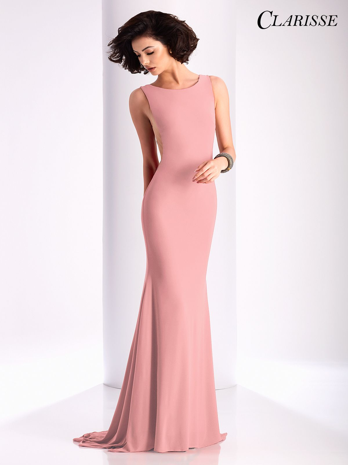 Clarisse prom dress simple and sleeveless with sheer mesh side