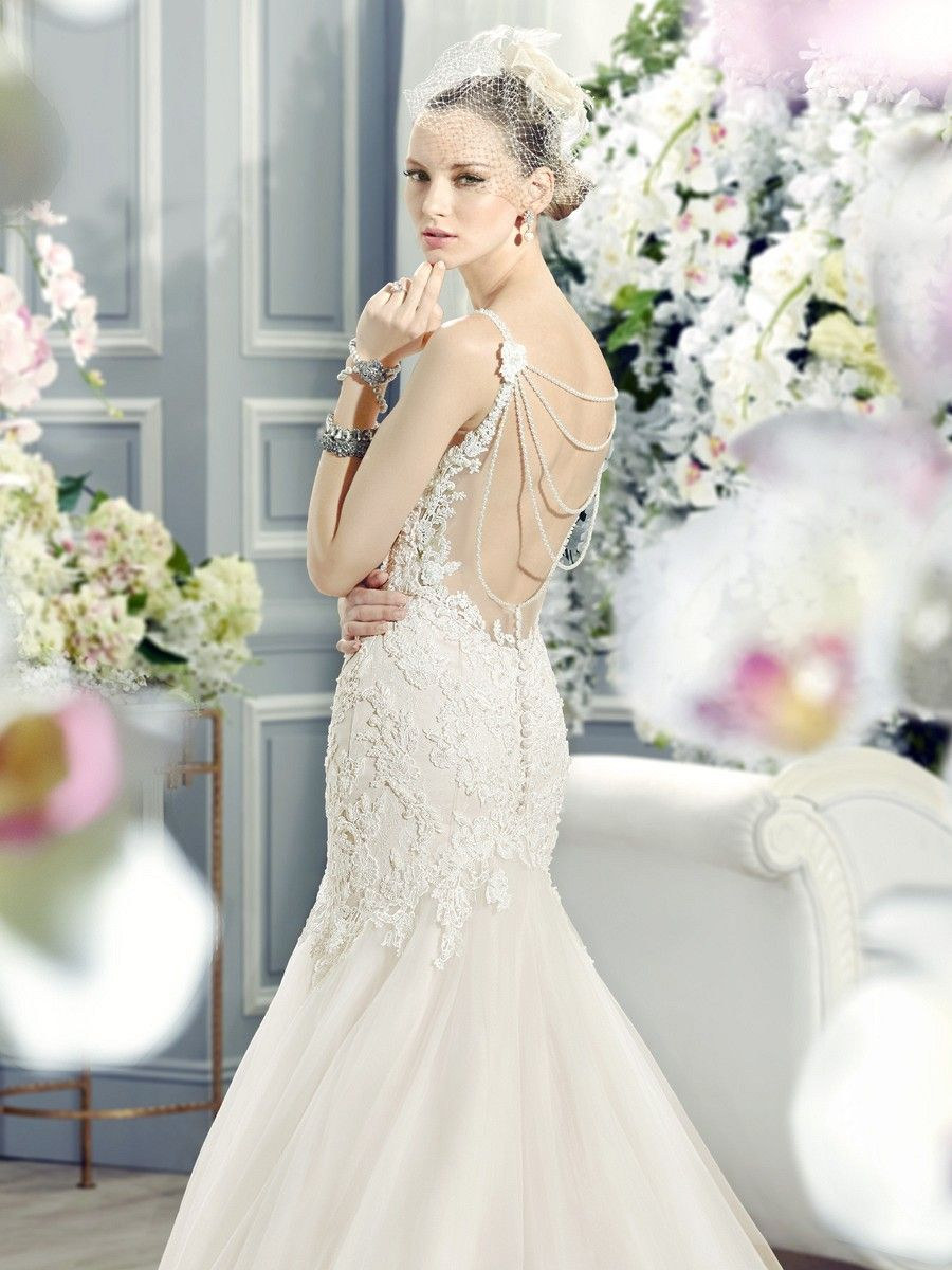 Lace Low Back Wedding Dress With Pearl Straps Fit Flare Wedding