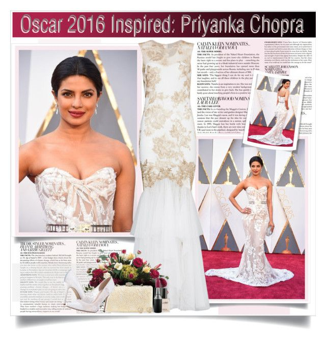 """Oscar 2016: Priyanka Chopra"" by monazor ❤ liked on Polyvore featuring McGinn, Notte by Marchesa, Allstate Floral, Jessica McClintock, SJP, MAC Cosmetics, Blue Nile and oscarfashion"