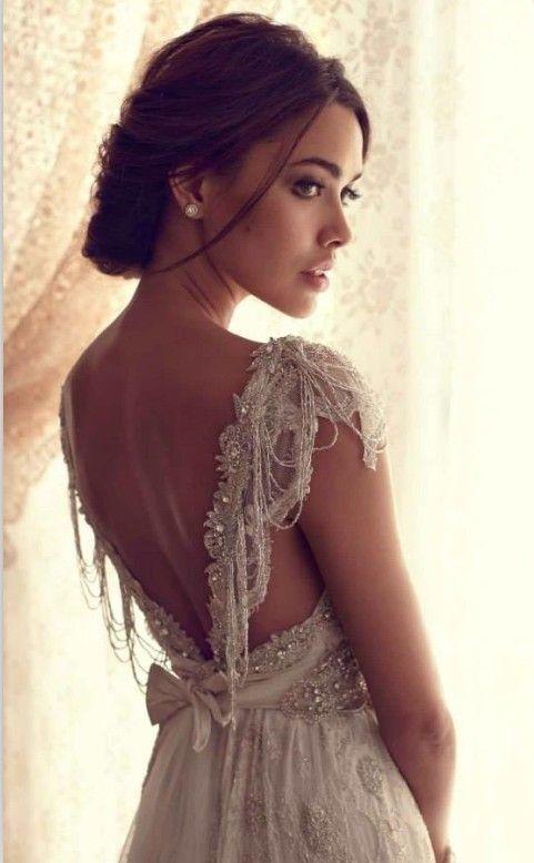 Boho Wedding Dress With Romantic Beading Short Sleeve Wedding Dress Anna Campbell Wedding Dress Draped Wedding Dress