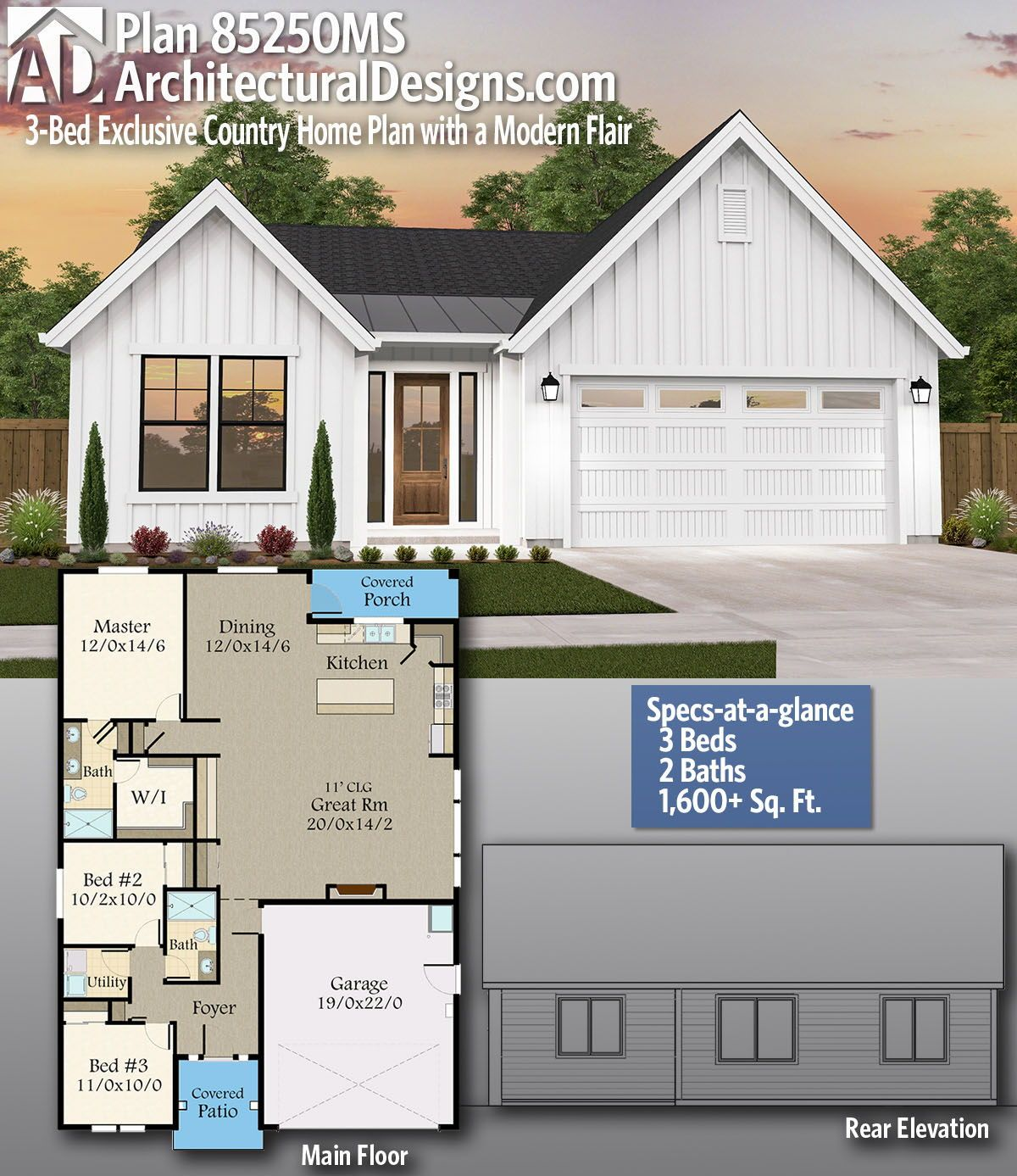 Plan 85250ms 3 Bed Exclusive Country Home Plan With A Modern Flair Country House Plans Simple Floor Plans Garage House Plans