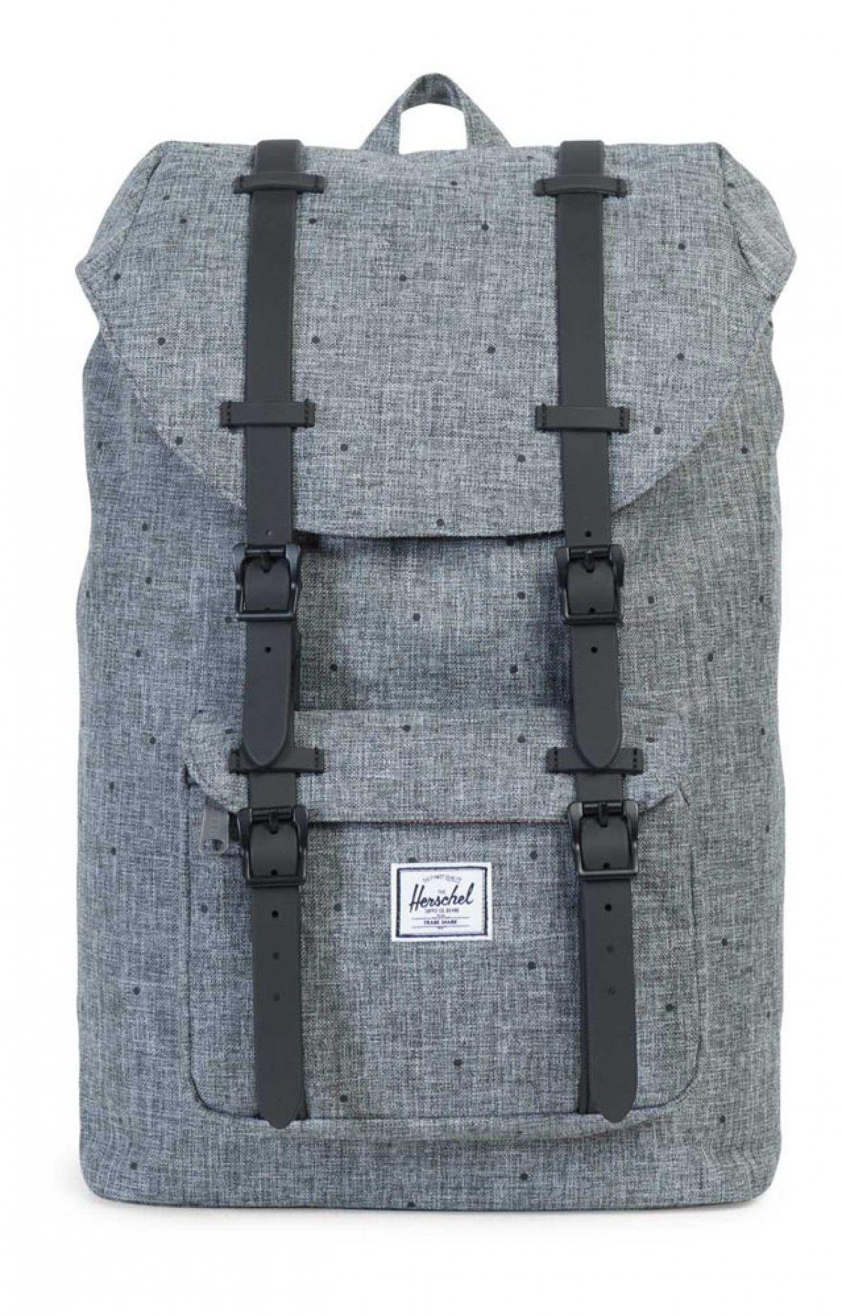 0ba984ec99 Herschel Little America Backpack Mid Poly Rubber Scattered Raven Crosshatch  Black