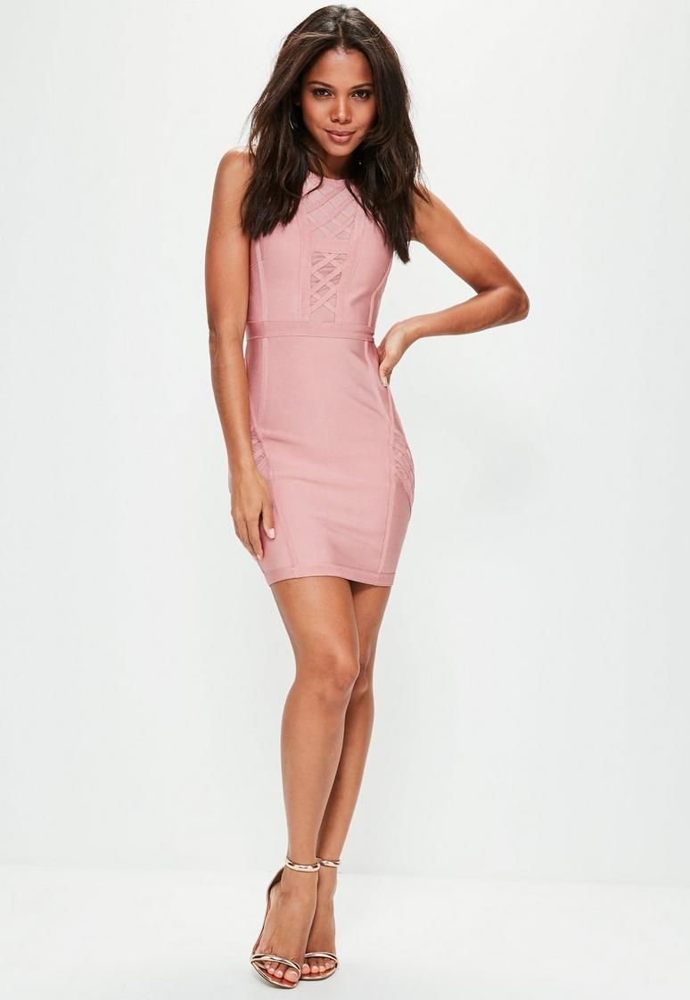 Pink Mesh Insert Bandage Bodycon Dress | Barbie Girl | Pinterest