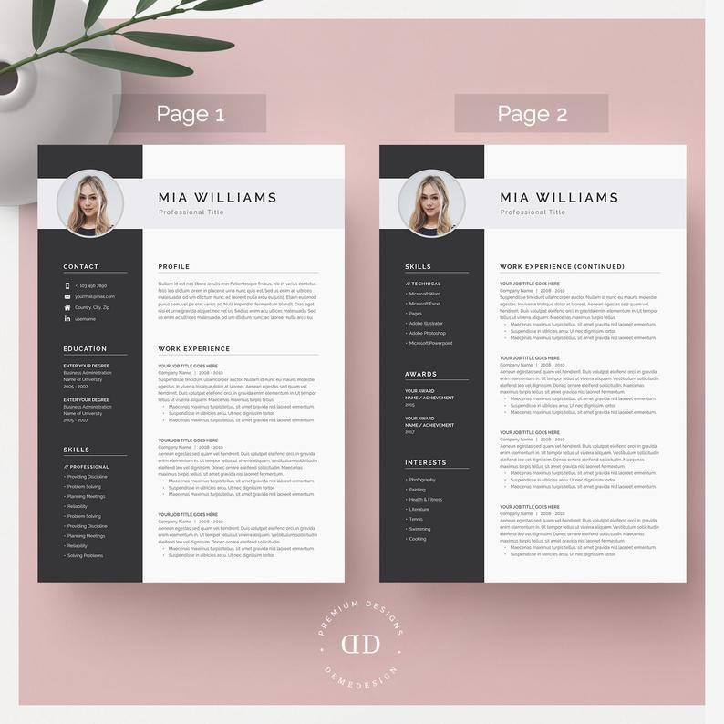 Resume Template Resume Template Word Resume With Photo Etsy Vorlagen Lebenslauf Lebenslauf Vorlagen Word Lebenslauf Anschreiben Vorlage