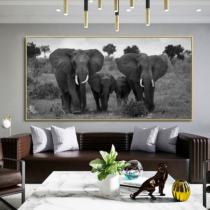 Wall Art Canvas Painting Cute Bunny Rabbit Black White Nordic Posters And Prints Wall Pictures For Living Room Kids Room Decor Wall Art Canvas Painting Canvas Wall Art Canvas Art Elephant decor for living room