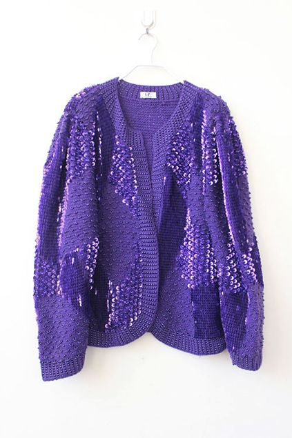 Handcrafted Beaded Bling Purple Cardigan