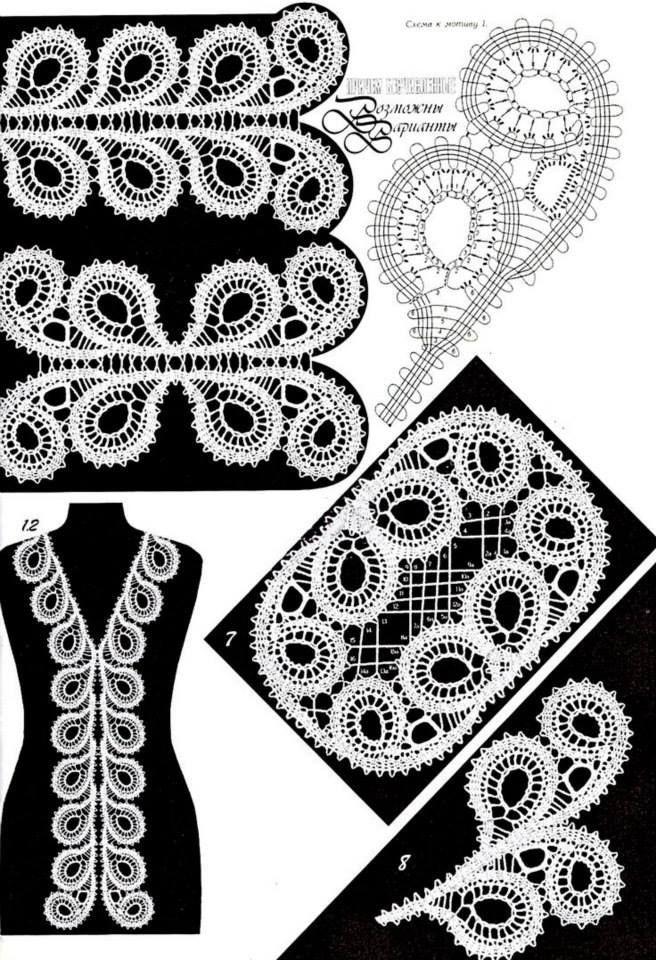 кружевные узоры, кайма | dantel | Pinterest | Crochet motif, Crochet ...