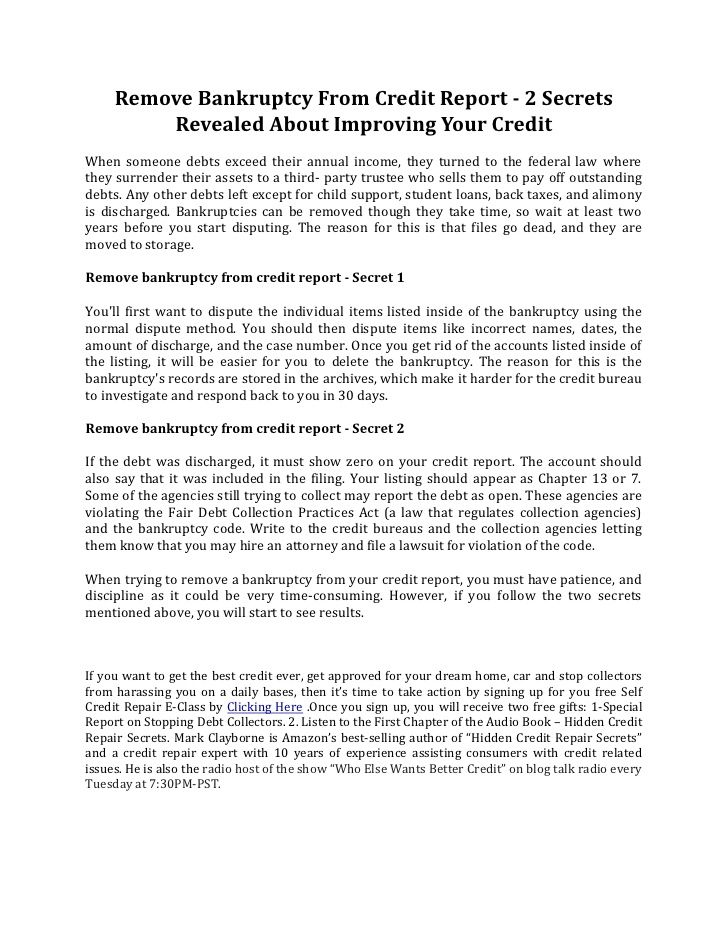 Remove Bankruptcy From Credit Report   Secrets Revealed About