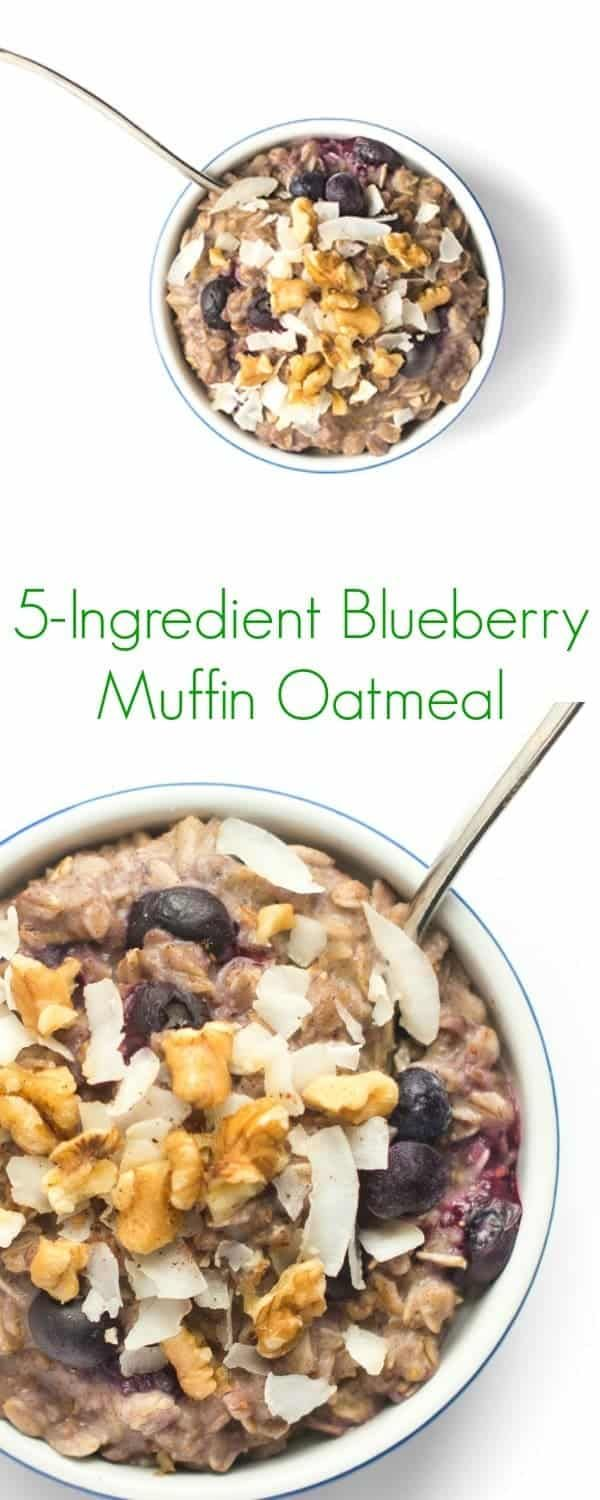 A healthy spin on the bakery classic, this five-ingredient blueberry muffin oatmeal bowl is full of juicy berries, crunchy walnuts and coconut flakes. #oatmeal #oatmealbowl