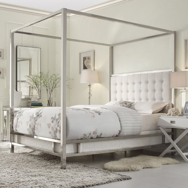 Metal 4 Poster Bed Part - 19: INSPIRE Q Solivita Off-white Linen Canopy Button Tufted Metal Poster Bed